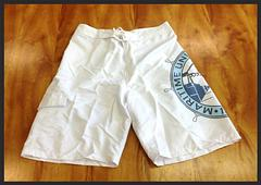 Boardshorts - Boardshorts with velcro fly and string tie.In White and BLUEPLEASE NOTE THE SIZING IS JUST A LITTLE SMALL SO CONSIDER GOING UP A SIZEThis shirt is Australian Made, Union Made